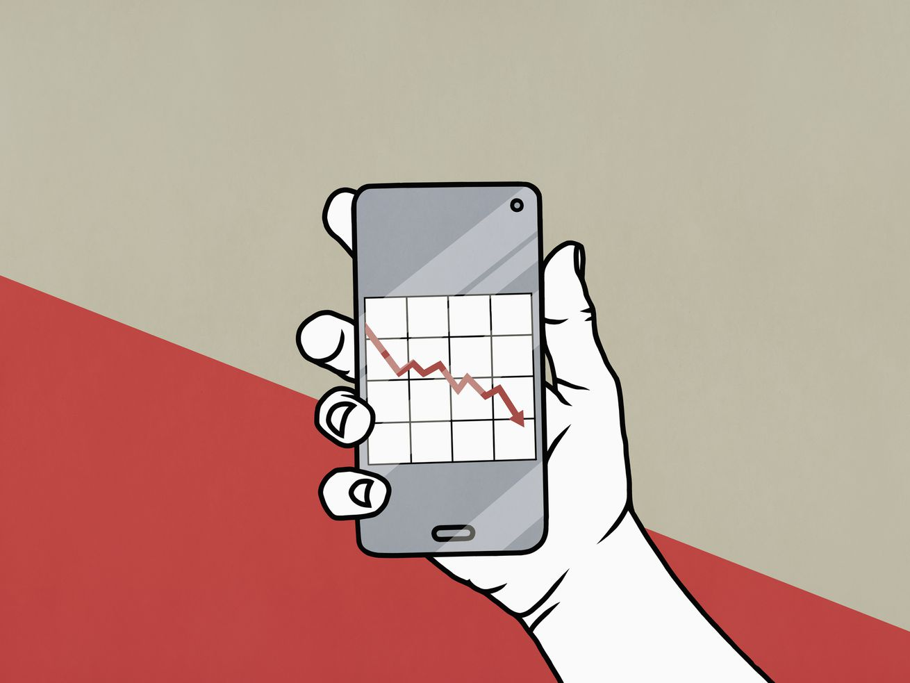 A drawing of a hand holding a smartphone displaying a downward-trending graph.