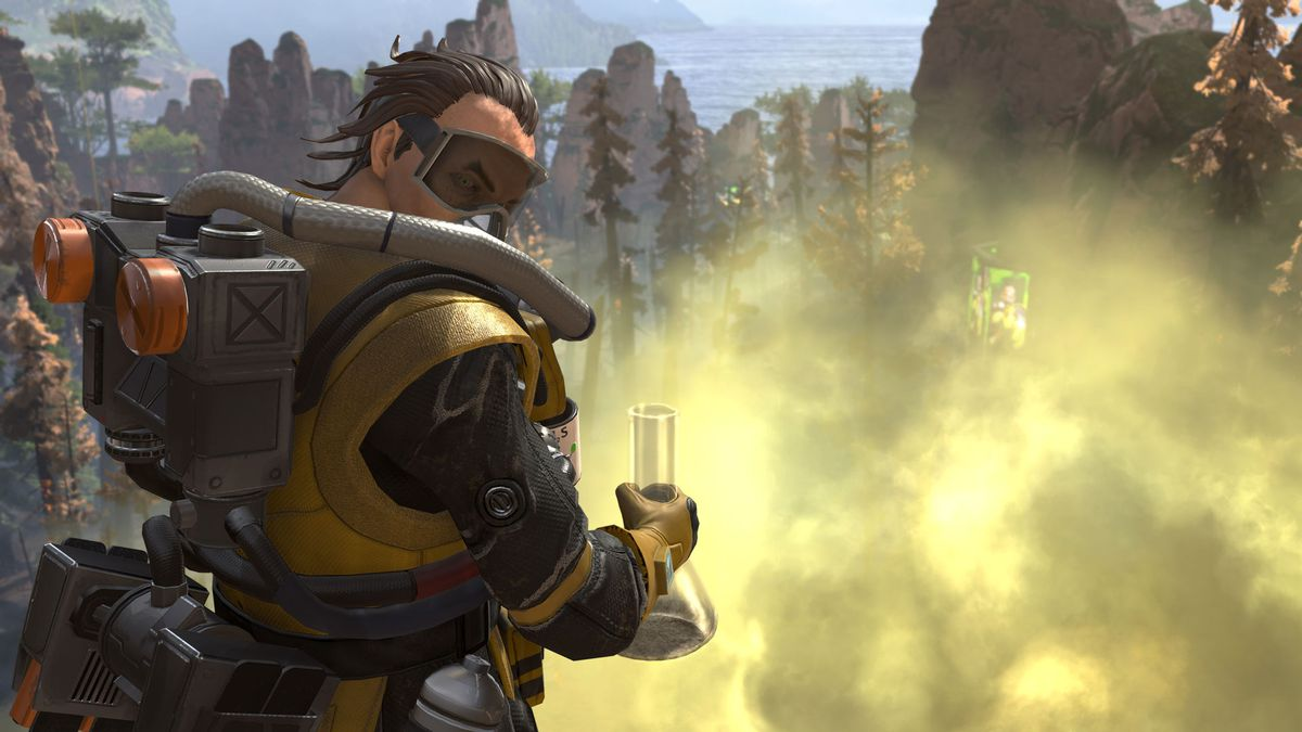 Apex Legends - Caustic standing above a cloud of his Nox gas