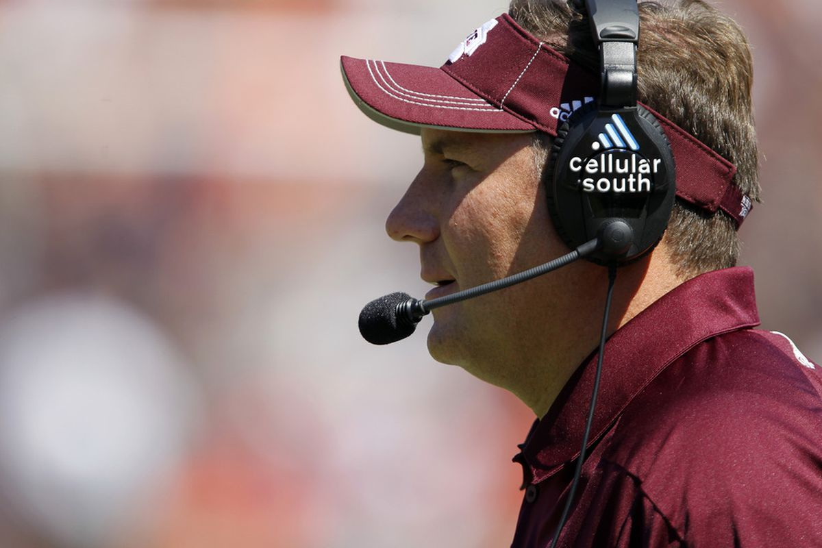 AUBURN, AL - SEPTEMBER 10:  Coach Dan Mullens of the Mississippi State Bulldogs looks on against the Auburn Tigers in the first quarter on September 10, 2011 at Jordan-Hare Stadium in Auburn, Alabama. (Photo by Butch Dill/Getty Images)
