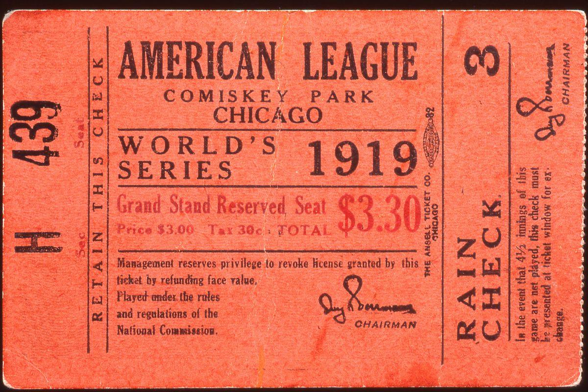 1919 World Series Ticket Stub