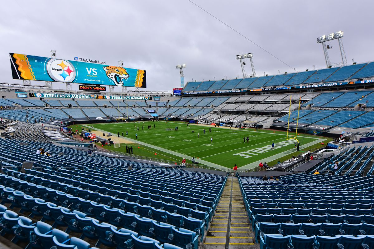 A general view during warmups before the game between the Pittsburgh Steelers and the Jacksonville Jaguars at TIAA Bank Field on November 22, 2020 in Jacksonville, Florida.