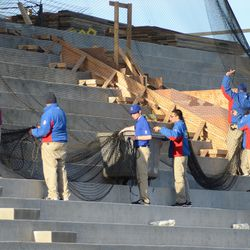 6:36 p.m. Protective netting being stored away -