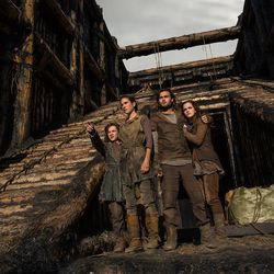 """(Left to right) Leo McHugh Carroll is Japheth, Jennifer Connelly is Naameh, Douglas Booth is Shem and Emma Watson is Ila in """"Noah,"""" from Paramount Pictures and Regency Enterprises."""