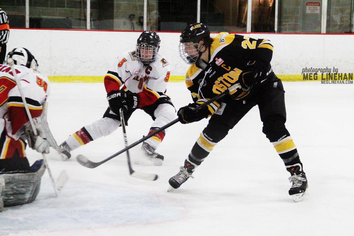 Hilary Knight playing against the Calgary Inferno at the Allied Veterans Rink in Everett, MA.  The Blades played one home game last season in Everett, and the rink has now been named the new home ice of the NWHL's Boston Pride.