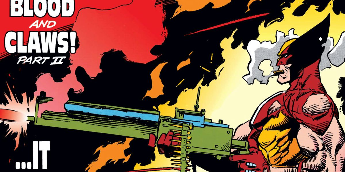 Wolverine calmly fires an enormous chain gun while puffing on a huge cigar on the cover of Wolverine #36, Marvel Comics (1988).