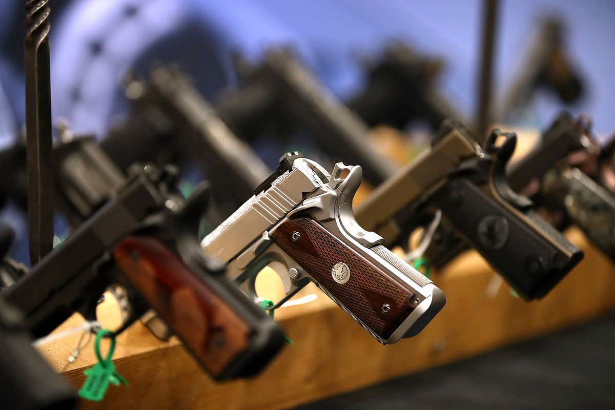 Handguns are displayed during the NRA Annual Meeting & Exhibits at the Kay Bailey Hutchison Convention Center on May 5, 2018 in Dallas, Texas.