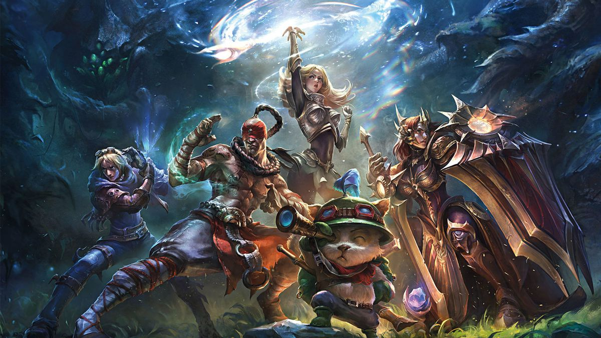 Several League of Legends characters pose with Summoner's Rift in the background