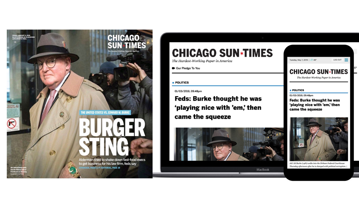 A cover of the print edition of the Sun-Times displayed next to a laptop and phone displaying the same story.