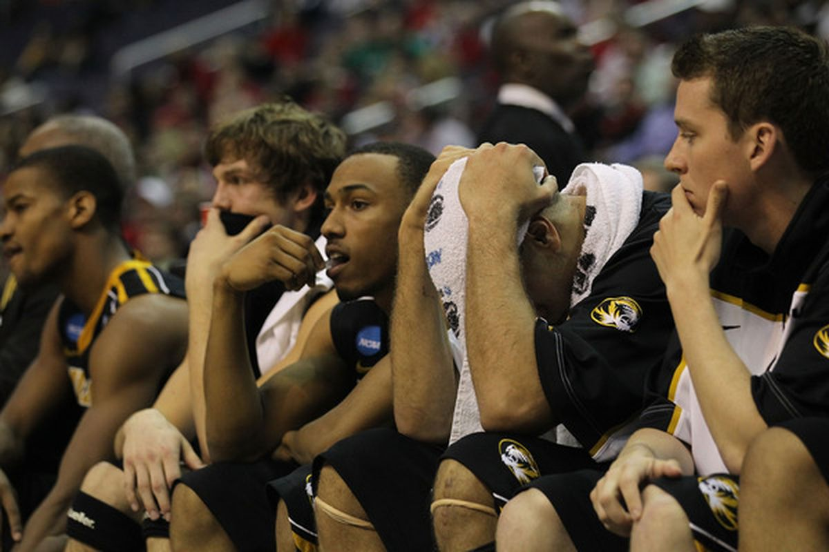 WASHINGTON - MARCH 17:  Missouri Tigers' react to losing to the Cincinnati Bearcats during the second round of the 2011 NCAA men's basketball tournament at the Verizon Center on March 17, 2011 in Washington, DC.  (Photo by Nick Laham/Getty Images)