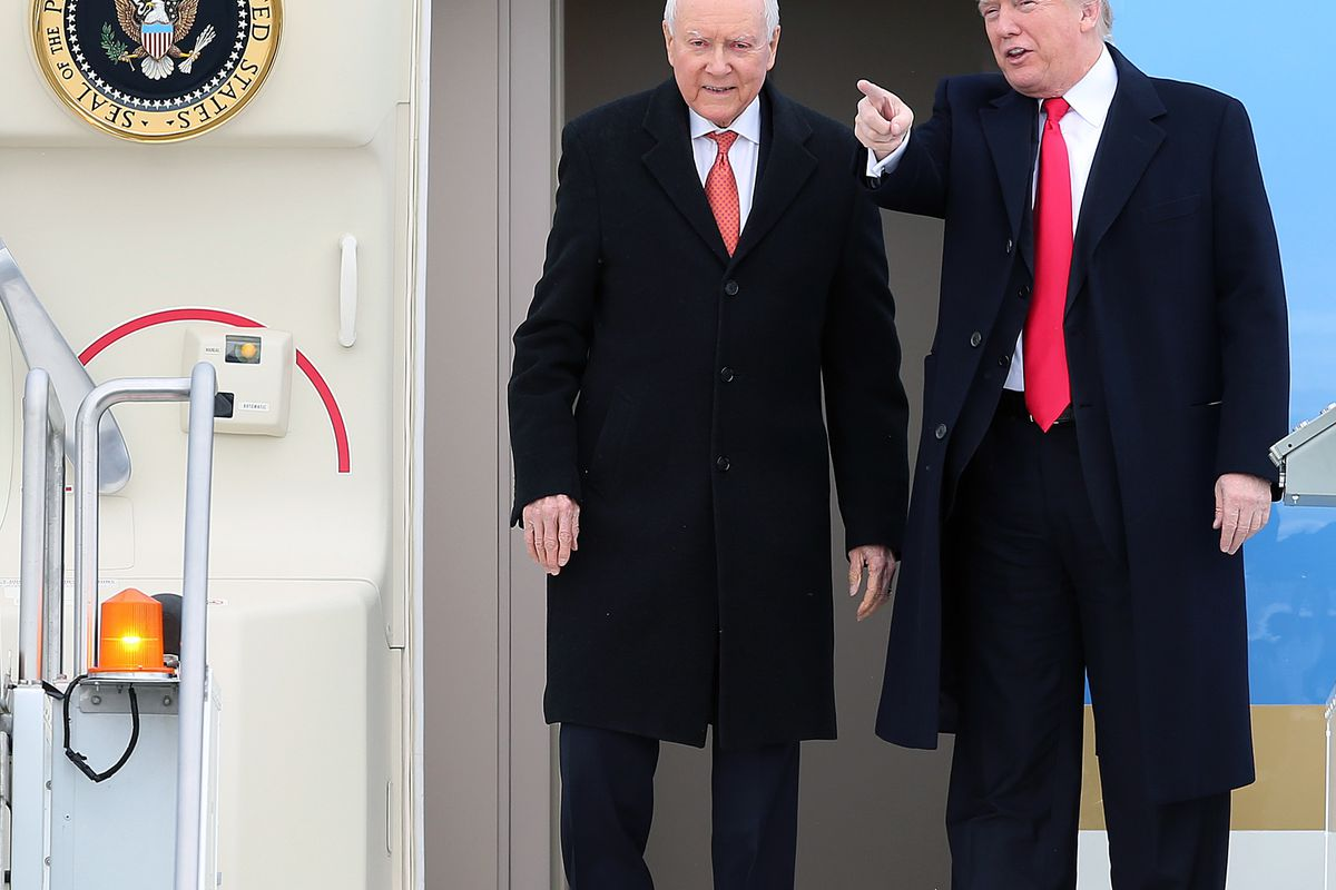 FILE - President Donald J. Trump and Sen. Orrin Hatch step off Air Force One at Roland R. Wright Air National Guard Base at the Salt Lake City International Airport in Salt Lake City on Monday, Dec. 4, 2017.