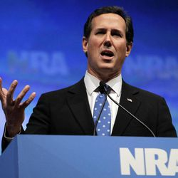 Former Republican presidential candidate Rick Santorum speaks at the National Rifle Association convention in St. Louis, Friday, April 13, 2012.