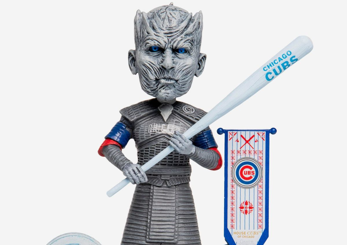 """Night games meet knight games: the Cubs/""""Game of Thrones"""" Night King bobblehead, part of a new series of bobbleheads combining MLB teams and characters from the HBO series. 
