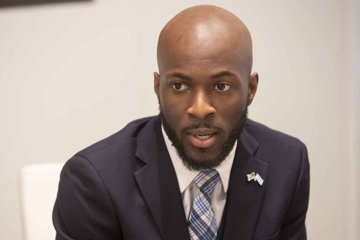 Jedidiah Brown, then a candidate for the 7th Ward, meets with the Chicago Sun-Times Editorial Board Monday, January 28, 2019.