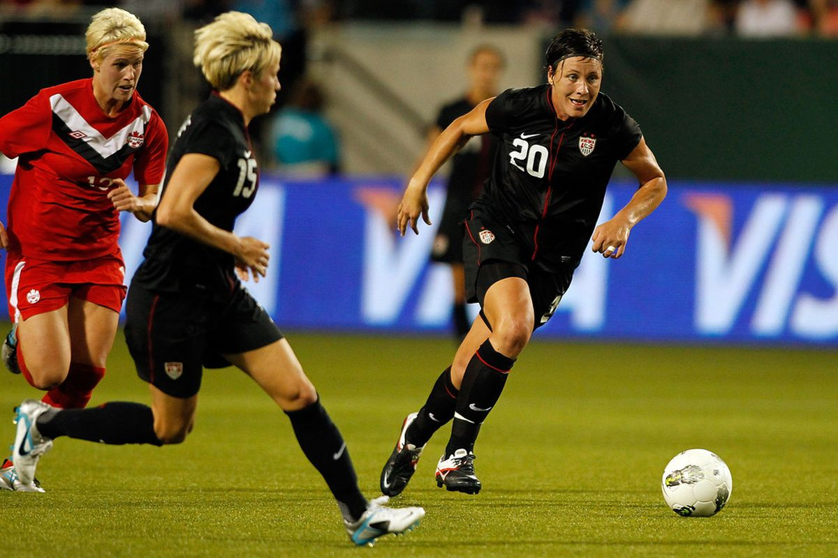 PORTLAND, OR - SEPTEMBER 22:  Abby Wambach #20 of the United States kicks the ball against  Canada on September 22, 2011 at Jeld-Wen Field in Portland, Oregon.  (Photo by Jonathan Ferrey/Getty Images)
