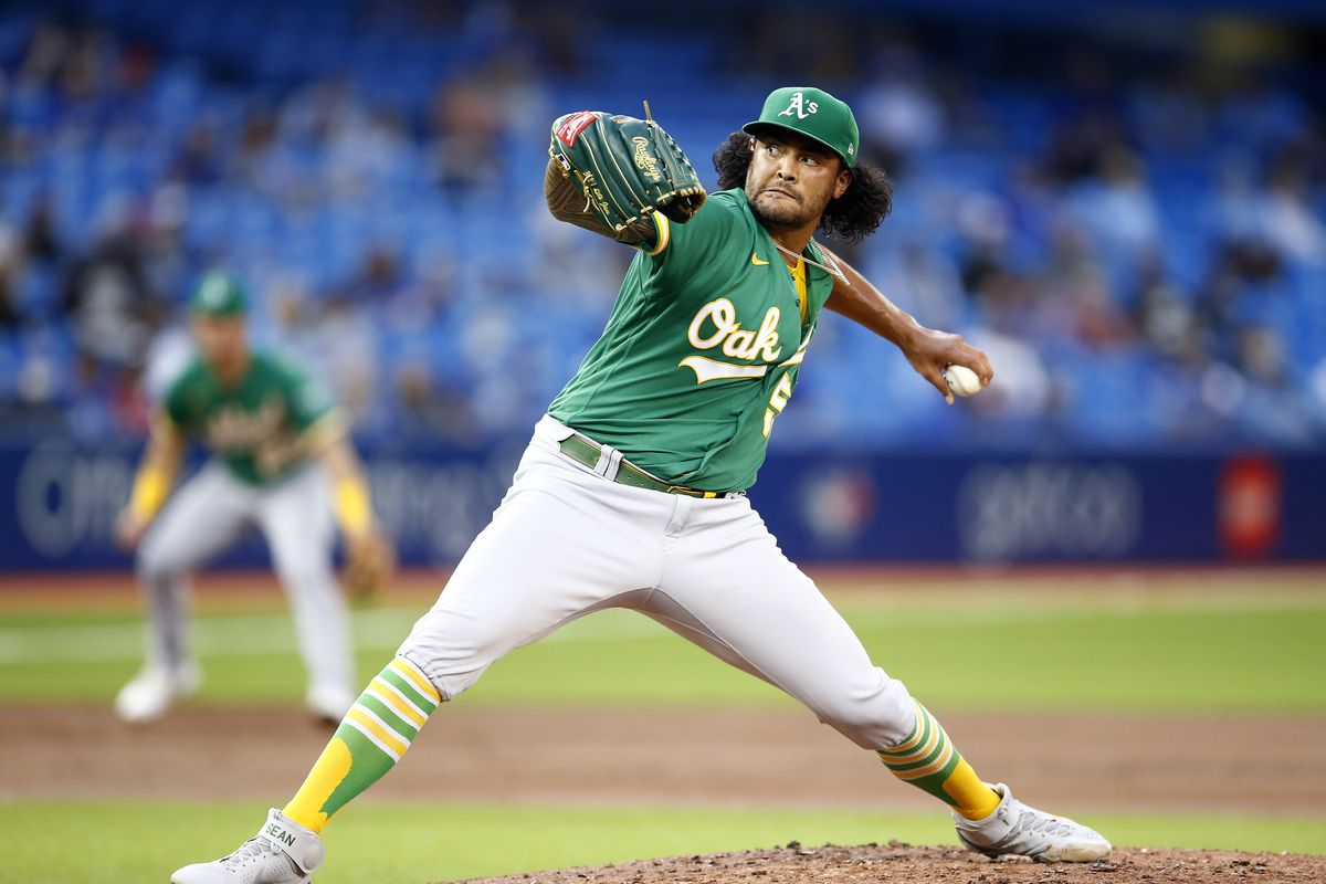 Sean Manaea #55 of the Oakland Athletics delivers a pitch in the first inning during an MLB game against the Toronto Blue Jays at Rogers Centre on September 3, 2021 in Toronto, Ontario, Canada.