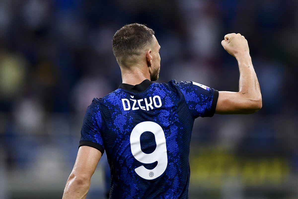 Edin Dzeko of FC Internazionale celebrates after scoring a...
