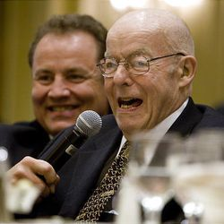 Former publisher of the Deseret News, William James Mortimer gives a short speech after being inducted in the Utah Printing Hall of Fame at the Little America in Salt Lake City on April, 29, 2010. Behind Mortimer is his son David Mortimer.