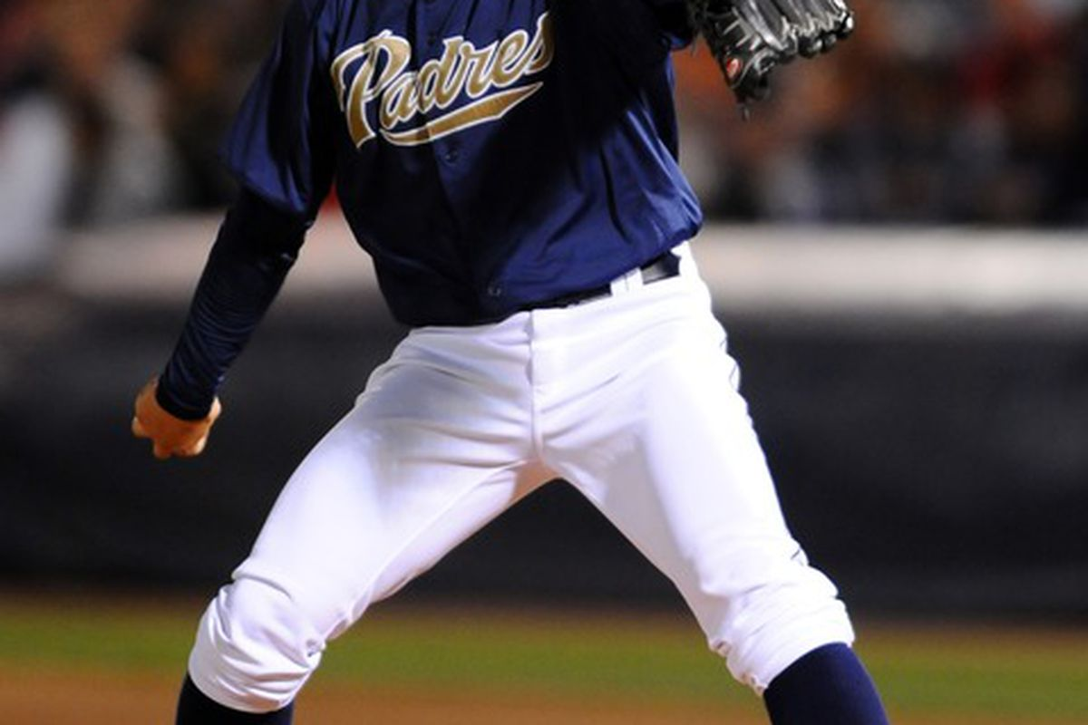 Mar 20, 2012; Peoria, AZ, USA;  San Diego Padres starting pitcher Joe Wieland (74) throws during the first inning against the Colorado Rockies at Peoria Stadium. Mandatory Credit: Christopher Hanewinckel-US PRESSWIRE
