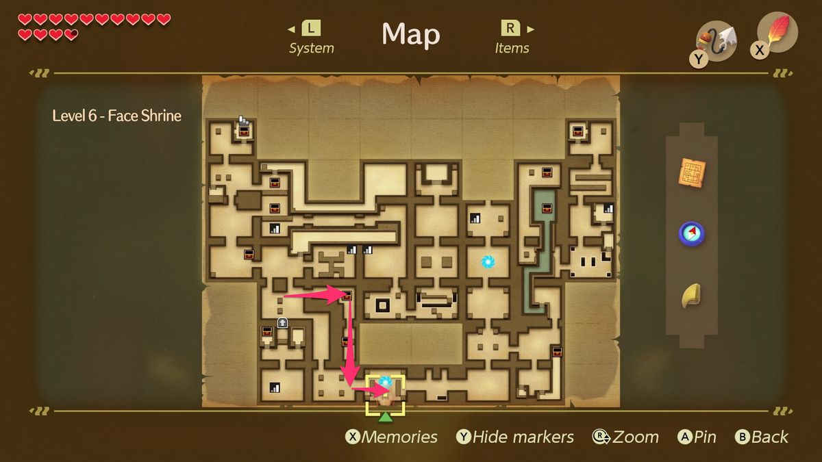 Link's Awakening Face Shrine path to collect rupees on your way back to the entrance