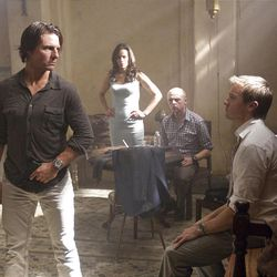 Left to right: Tom Cruise plays Ethan Hunt, Paula Patton plays Jane, Simon Pegg plays Benji, and Jeremy Renner plays Brandt in MISSION: IMPOSSIBLE ? GHOST PROTOCOL, from Paramount Pictures and Skydance Productions.