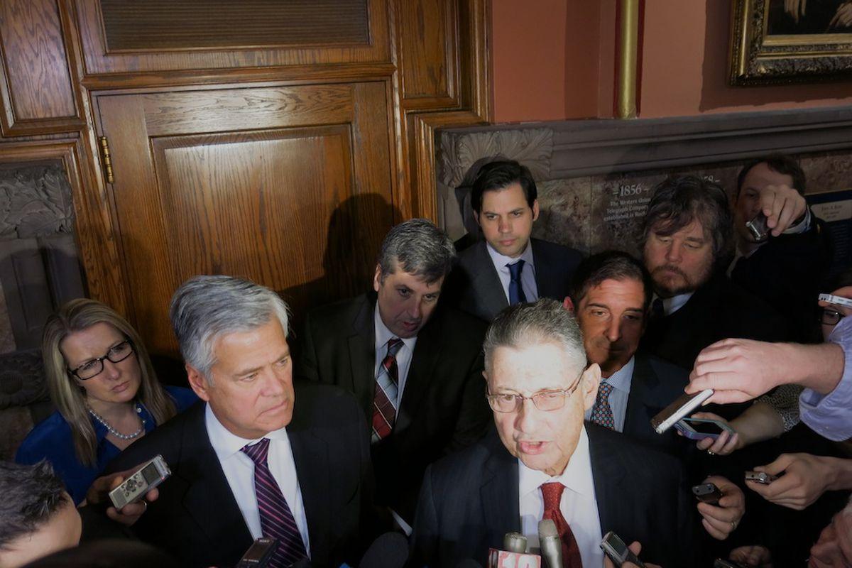 Legislative leaders, Assembly Speaker Sheldon Silver and Senate co-leaders Dean Skelos and Jeff Klein.