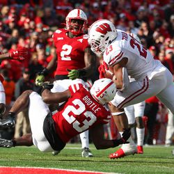 Jonathan Taylor breaking tackles on his way to a touchdown. Taylor would gain 200+ rushing yards for the third successive time v Nebraska.
