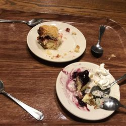 """As the last stop of the crawl, the A&E team wasn't able to finish the Lion House Pantry's German pound cake and blueberry cheesecake """""""" not because they weren't delicious, but because the team had reached their sugar limit."""