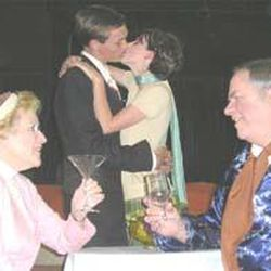 """Mrs. Banks (Carolyn Abel), left, Paul and Corie (Jacob and Rachel Johnson) and Mr. Velasco (David Farnsworth) in """"Barefoot in the Park."""""""