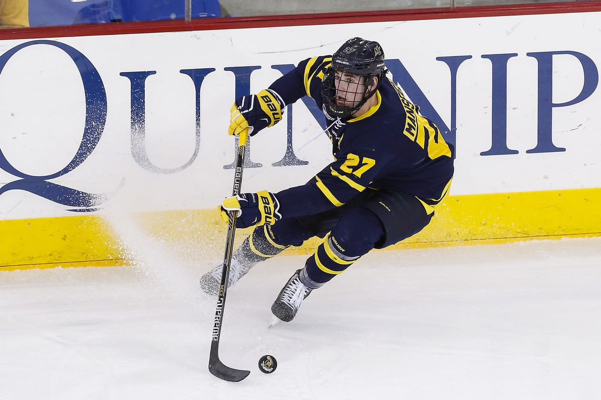 Justin Mansfield assisted on Kyle Singleton's shorthanded goal in overtime in Friday's 3-2 Merrimack win.
