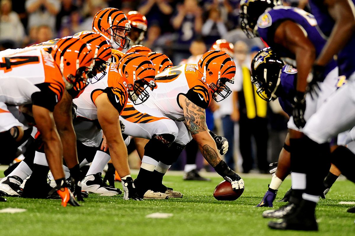 We don't have Trevor Robinson pictures in the database, so here's the offensive line in Week One.