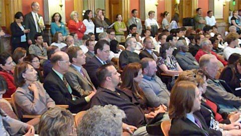 The Capitol's Old Supreme Court Chambers was packed for the April 25 hearing on the ASSET bill.