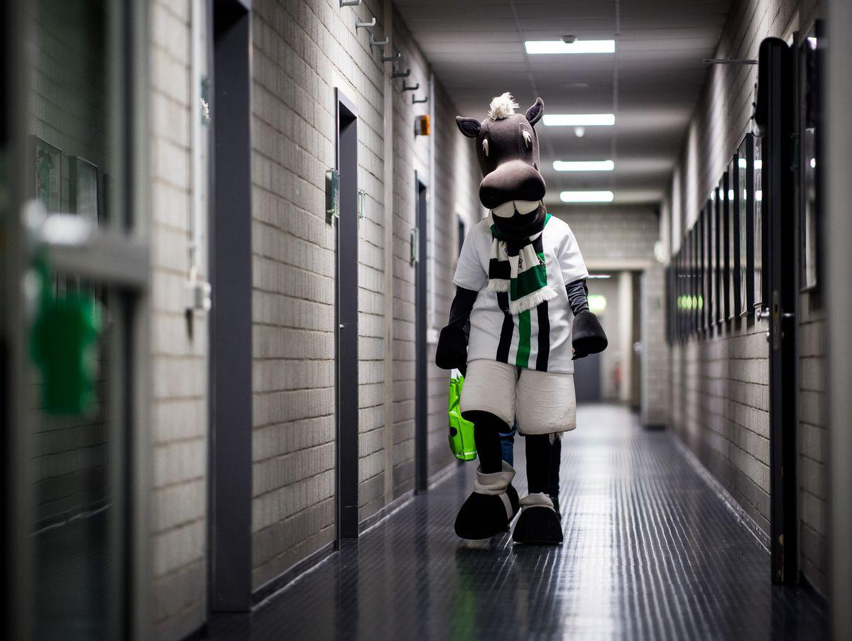 Mascot 'Juenter' of Moenchengladbach is seen in the player tunnel prior to the Bundesliga match between Borussia Moenchengladbach and FC Schalke 04 at Borussia-Park on March 4, 2017 in Moenchengladbach, Germany.