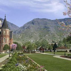 A newer artist's rendering of the Provo City Center Temple provides a sense of the plans for the grounds.