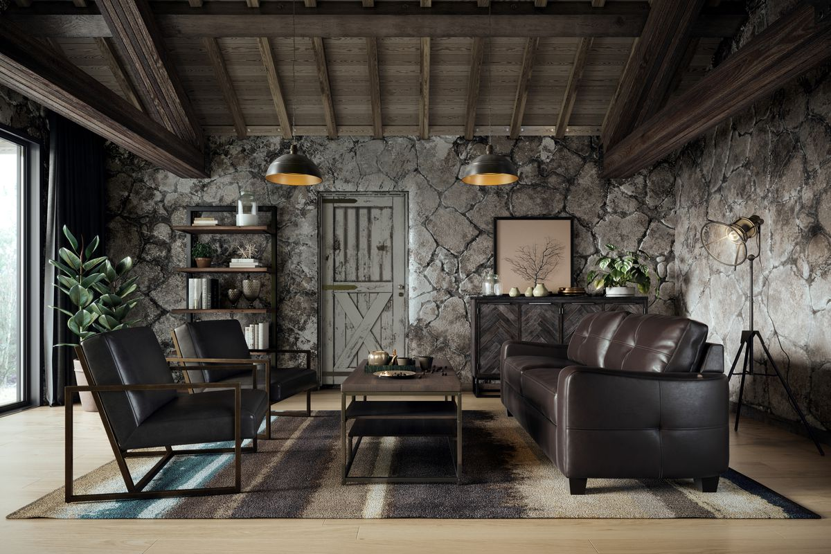 """A Scott-designed """"elevated industrial"""" living room by Casaza."""