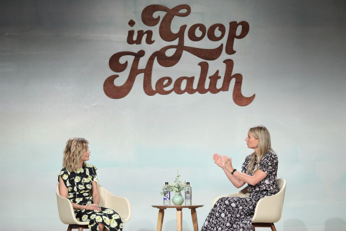 Meg Ryan and Gwyneth Paltrow onstage at the In Goop Health Summit