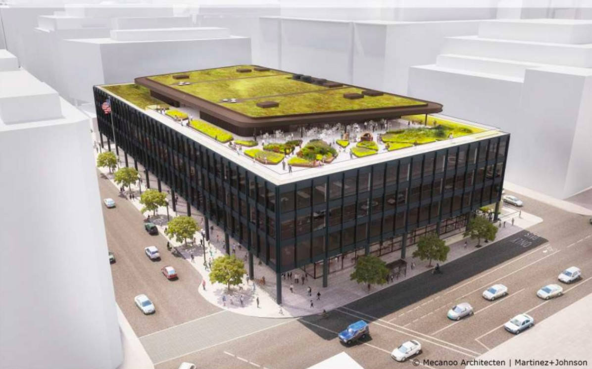 A rendering of the library exterior and rooftop, showing landscaping on the roof and cars below on the street.