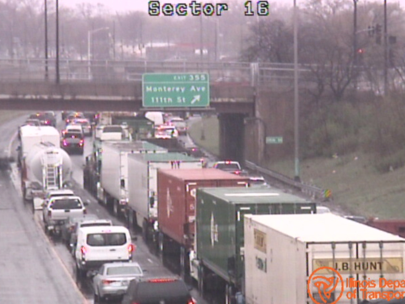 Traffic backed up past 111th Street after a man was shot on I-57 near Halsted Street on Thursday.