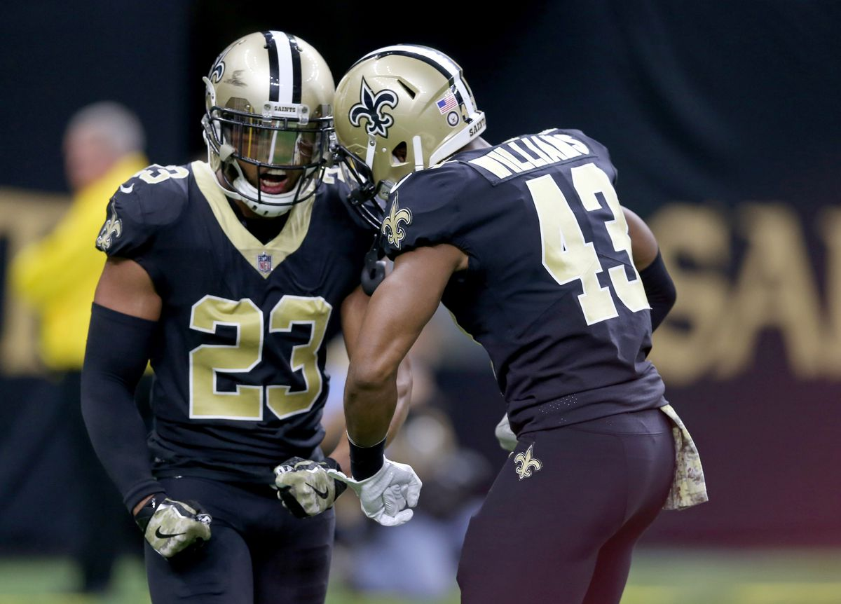 New Orleans, LA, USA; New Orleans Saints cornerback Marshon Lattimore  (23) and New Orleans Saints free safety Marcus Williams (43) celebrate a  play against the Tampa Bay Buccaneers in the second half at the  Mercedes-Benz Superdome.