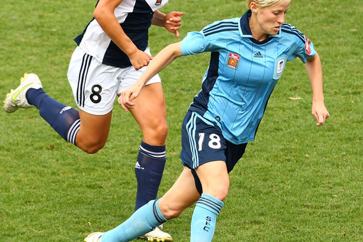 SYDNEY, AUSTRALIA - OCTOBER 29:  The A-League has a W-League: Megan Rapinoe's playing in it. Shouldn't North America have a similar league? (Photo by Mark Nolan/Getty Images)