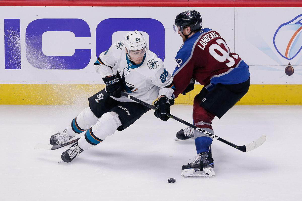 May 6, 2019; Denver, CO, USA; San Jose Sharks right wing Timo Meier (28) and Colorado Avalanche left wing Gabriel Landeskog (92) battle for the puck in the third period in game six of the second round of the 2019 Stanley Cup Playoffs at the Pepsi Center.