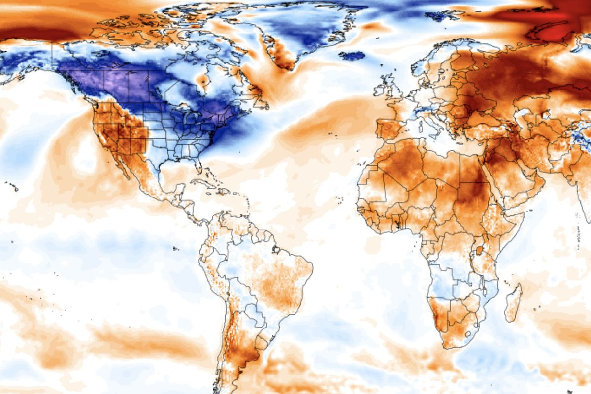 A recently released map from the Climate Change Institute shows much of the cold weather hovering about the Northeastern and Midwestern U.S.