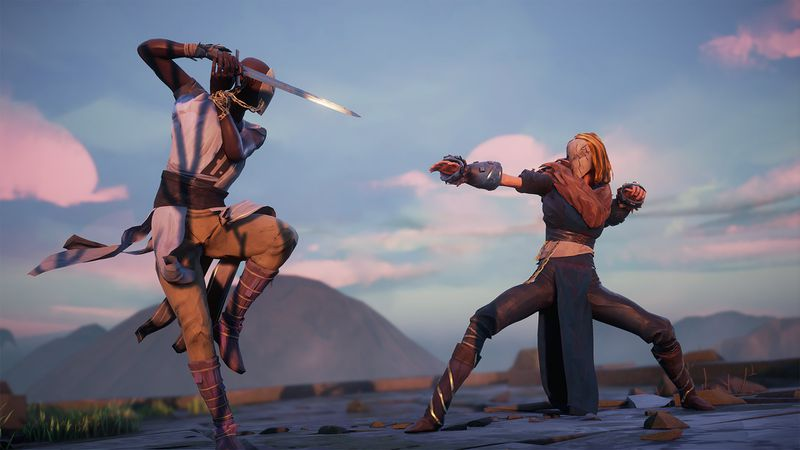 In these screenshot from Absolver, two characters are facing off in some ruins. The character on the left is holding a sword and has a single leg perched up as though ready to strike. The character on the right is standing bow-legged with one arm forward