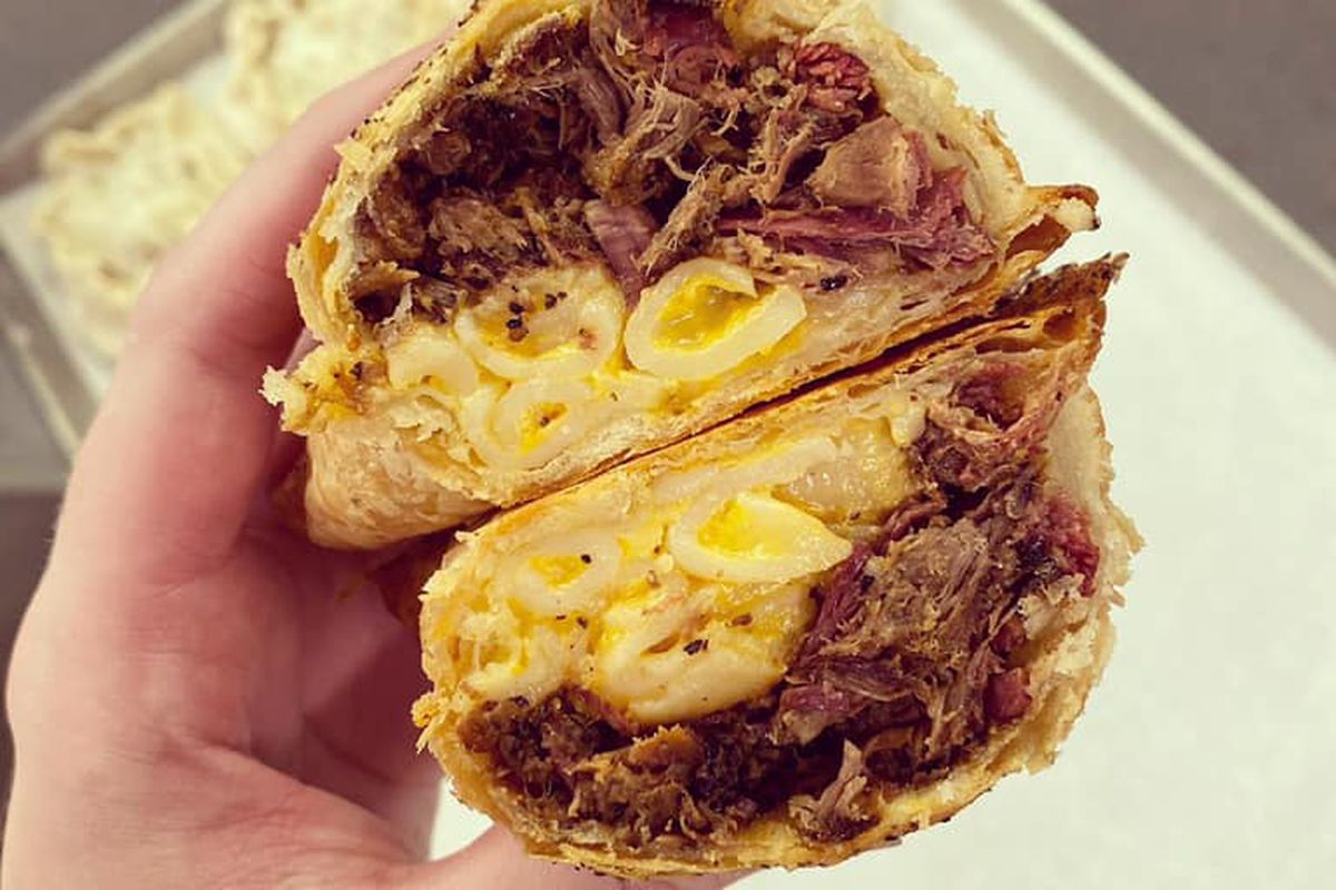 The puff pastry stuffed with mac and cheese, brisket, and barbecue sauce from Vivian's Boulangerie and LeRoy & Lewis