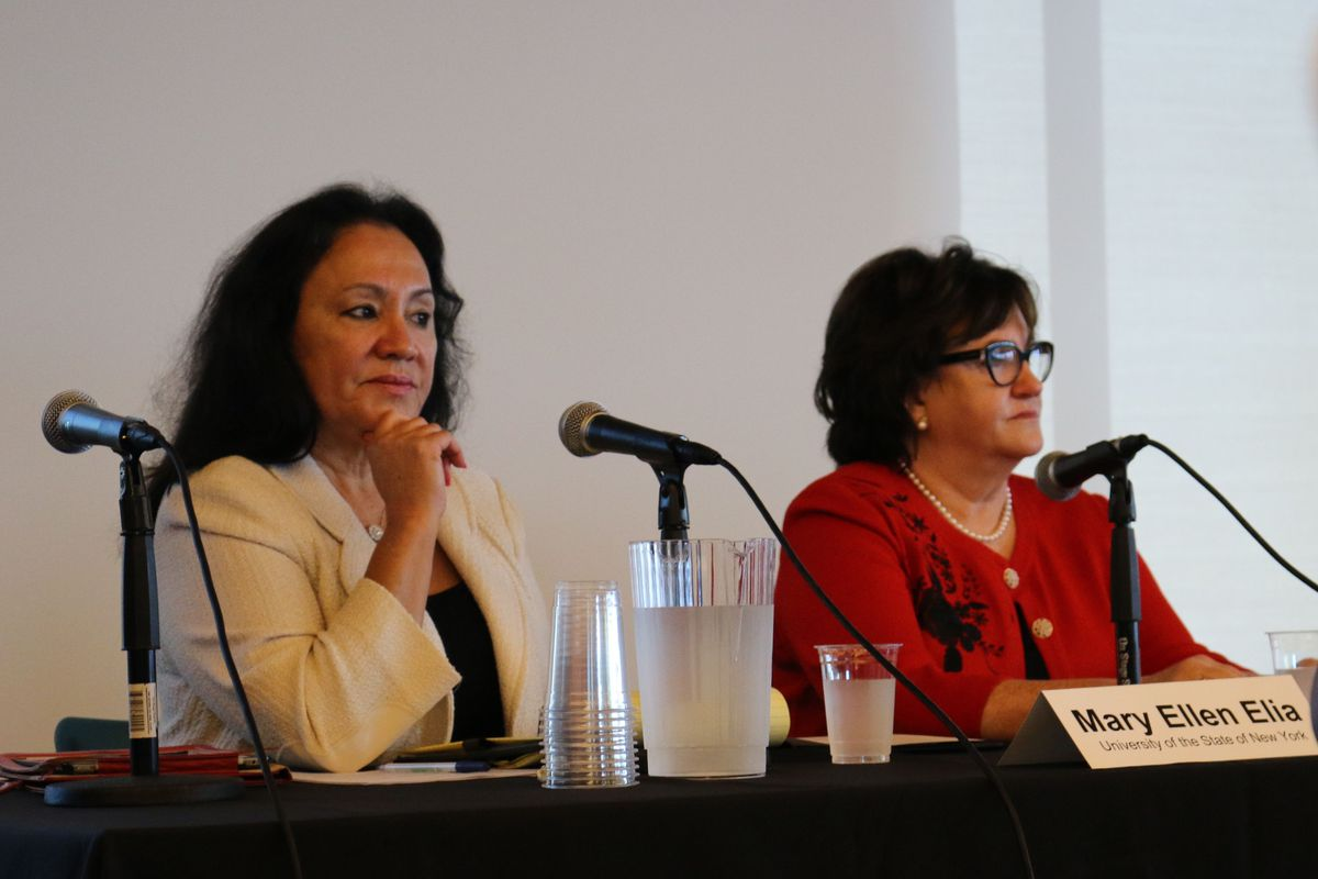 State Education Commissioner MaryEllen Elia, right, and Board of Regents Chancellor Betty Rosa, left.