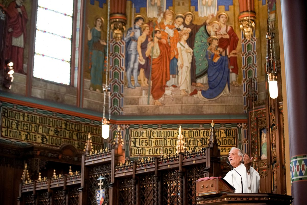 Very Rev. Martin Diaz celebrates Mass at the Cathedral of the Madeleine on Tuesday, May 12, 2020.