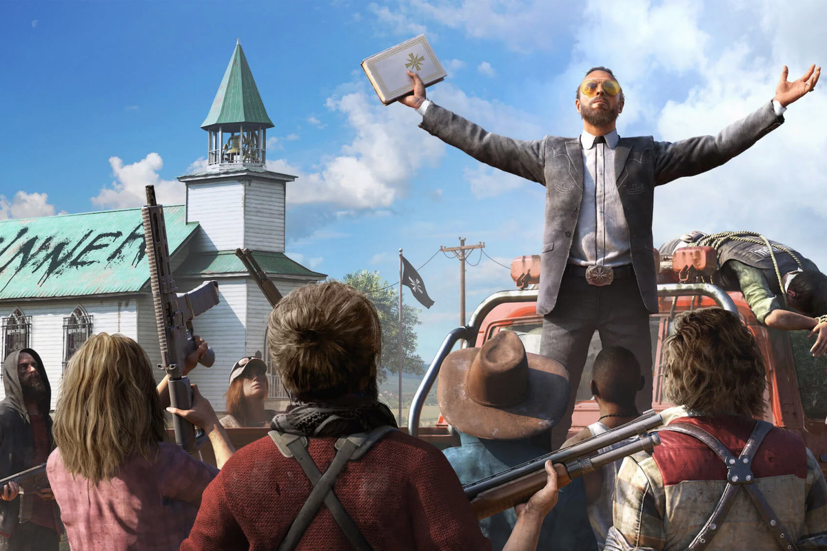 Far Cry 5 - Joseph Seed preaching in front of his followers
