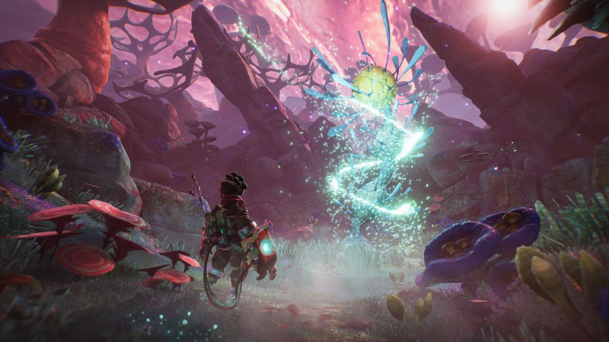 A player character faces a glowing alien plantlike creature in a screenshot from The Gunk