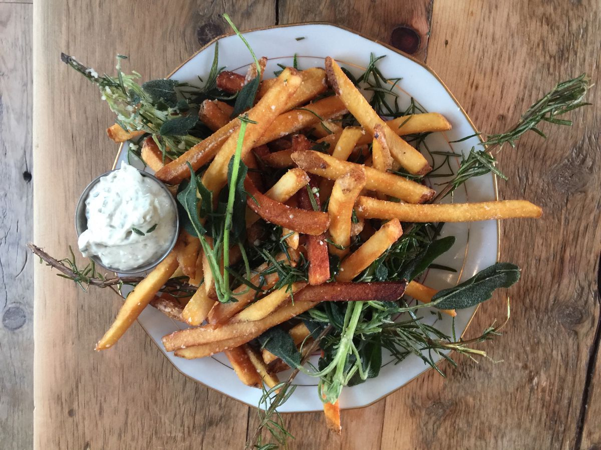 A top-down view of rosemary fries at Harry's Fine Foods.