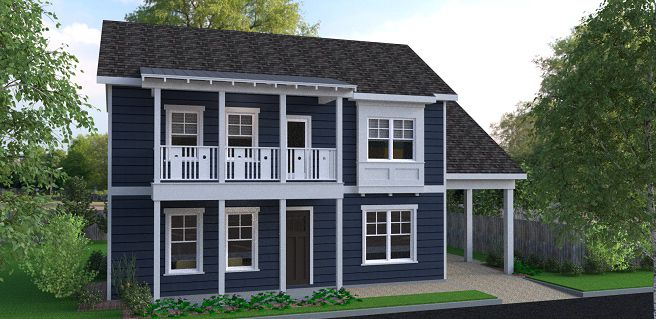 A blue home featured in a rendering with a carport at right.