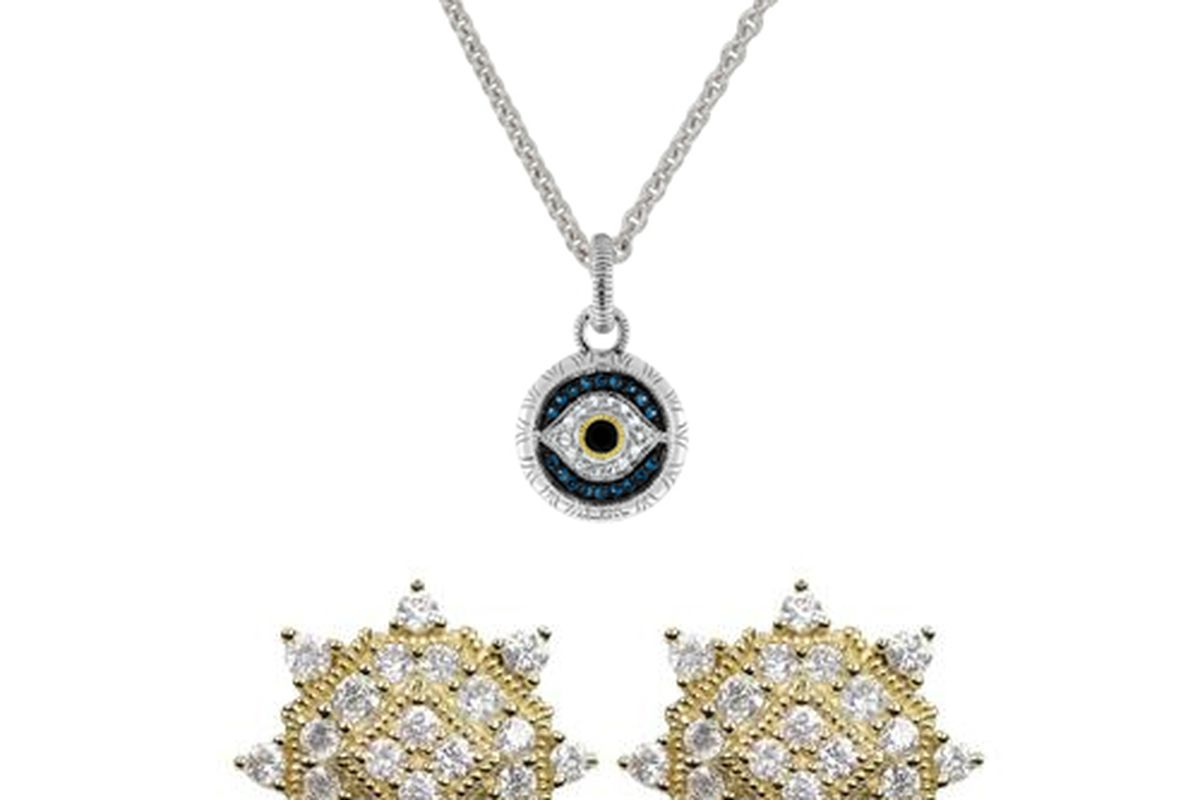 """<a href=""""http://www.judithripka.com/silver-collection/la-petite/necklace-with-evil-eye-pendant.html"""">Evil Eye Necklace</a> and <a href=""""http://www.judithripka.com/18k-gold-collection/la-petite/la-petite-round-pave-stud-yg.html"""">Le Petite Round Pave"""
